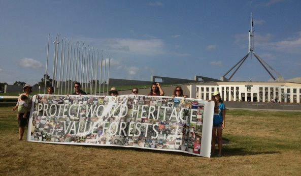World Heritage banner in Canberra 14 Feb 2013